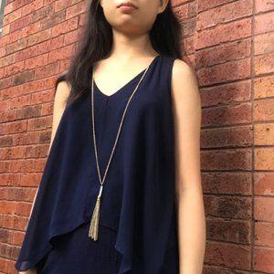 Navy Tank Top with Detachable Tassel Necklace